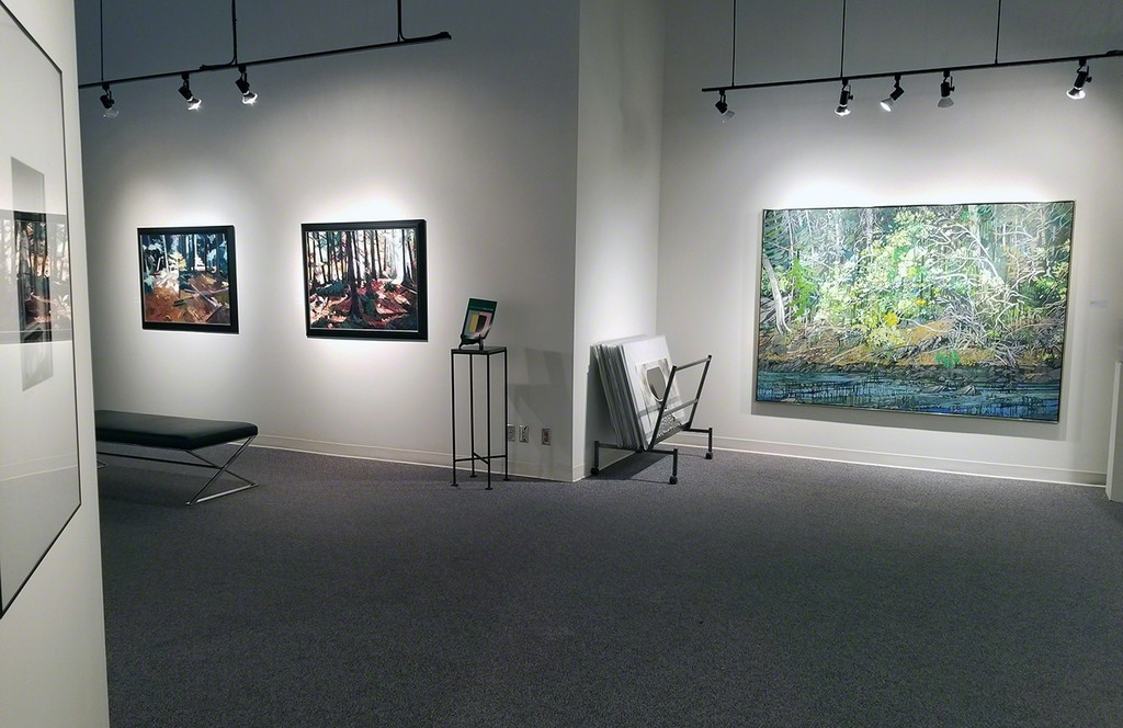 Kenneth Lochhead (left) loved the play of lighting the forest as its ever changes qualities makes for new exploration of the forest outside his studio.  Ted Godwin (right) loved the way the light reflected off the water, the ever changes aspect that he loved.