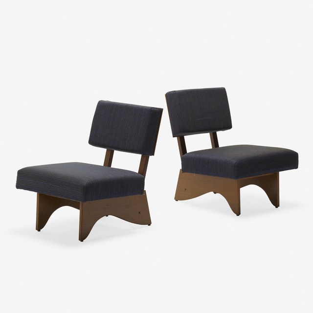 André Sornay, 'lounge chairs, pair', c. 1950, Design/Decorative Art, Rosewood, mahogany, brass, upholstery, Rago/Wright