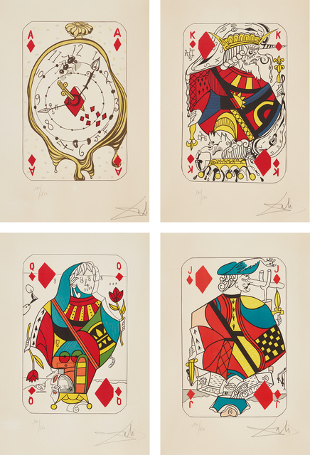 Salvador Dalí, 'Playing Cards: Ace of Diamonds; King of Diamonds; Queen of Diamonds; and Jack of Diamonds, from Playing-Cards', 1972, Phillips