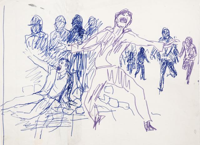 """Antonio Berni, ' Sin Título (Estudiantes). De la serie """"Mayo del 68, París""""', ca. 1968, Cosmocosa"""