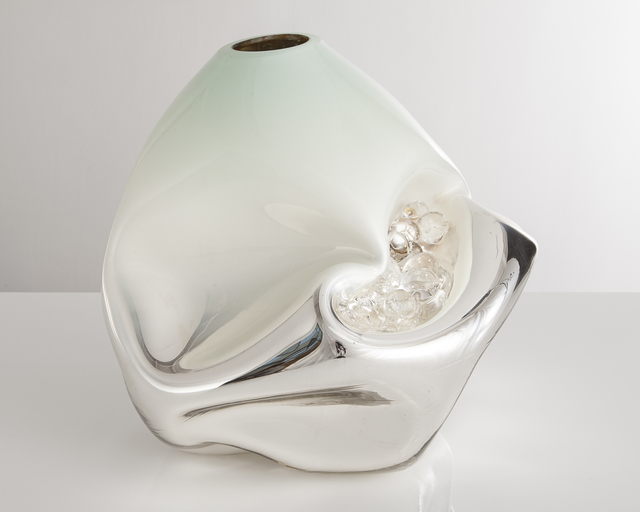 , 'Unique crumpled sculptural vessel in silver mirrorized translucent hand-blown glass with celadon-colored top and glass crystals,' 2014, R & Company