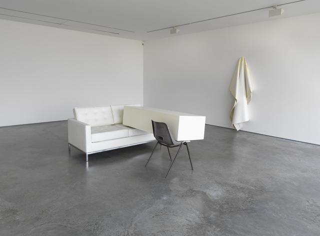 Angela de la Cruz, 'Transfer (Ivory)', 2011, Installation, Sofa, wooden box and chair, Galerie Thomas Schulte
