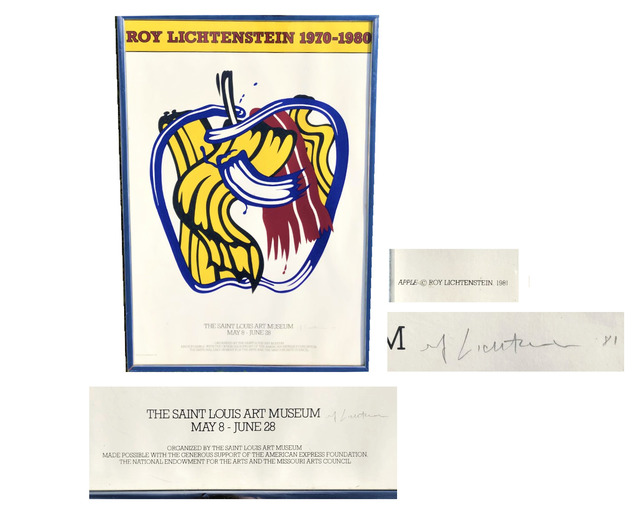 "Roy Lichtenstein, '""Roy Lichtenstein 1970-1980"", SIGNED Exhibition Poster, Saint Louis Art Museum Screen Print Apple Poster', 1981, VINCE fine arts/ephemera"