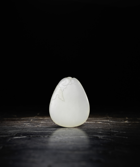 , 'A white jade pebble-form pendant 白玉雕「花間蝶影」佩,' 1736-1795, Rasti Chinese Art