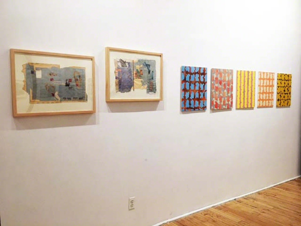 "Work by artists N'Cognita and Michael Reck in ""The Heat is On"" exhibit at Viridian Artists gallery."