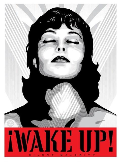 Shepard Fairey, 'Wake Up! - White', 2017, Blackline Gallery