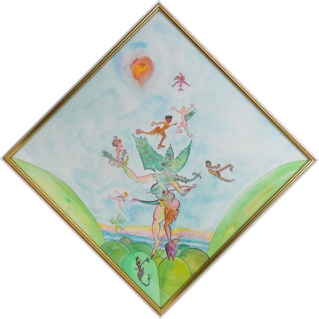 Luigi Ontani, 'Ontano di venti ', 1992, Drawing, Collage or other Work on Paper, Watercolor on paper, La Maison de la Petite Sara