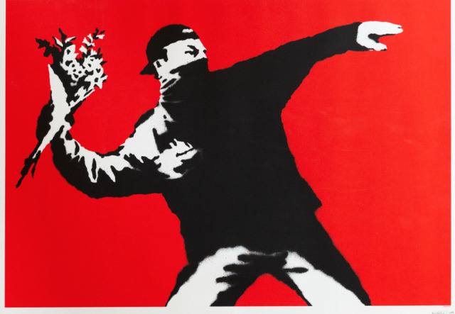 Banksy, 'Love Is In The Air', 2003, Print, Screenprint, Lougher Contemporary