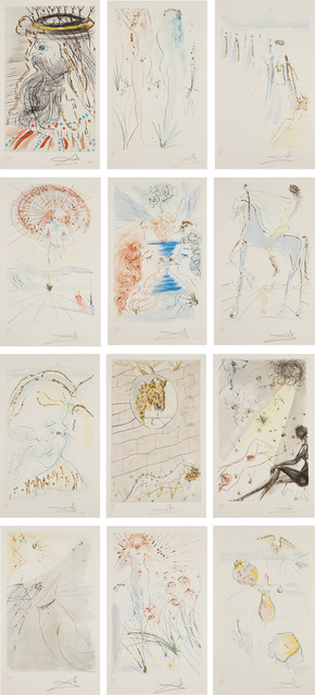 Salvador Dalí, 'Song of Songs', 1971, Books and Portfolios, The complete set of 12 etchings with stencil coloring and gold gilding, on Arches paper, with full margins, folded (as issued), with title, colophon and text pages, all contained in the original blue cloth-covored portfolio., Phillips