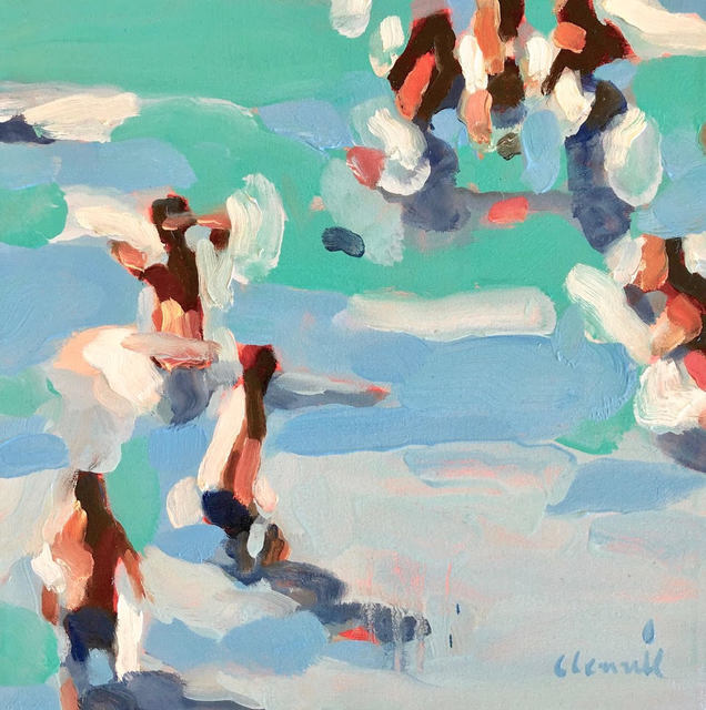 Elizabeth Lennie, '''Spring Break'' Abstract oil painting of people in blue and green water ', 2019, Eisenhauer Gallery