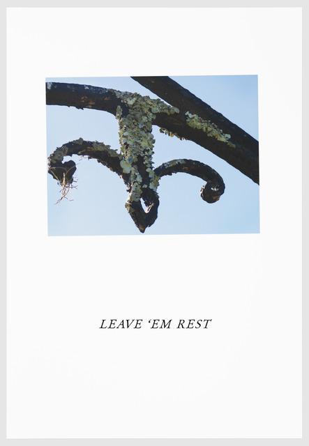 , 'LEAVE 'EM REST,' 2016, Arnika Dawkins Gallery