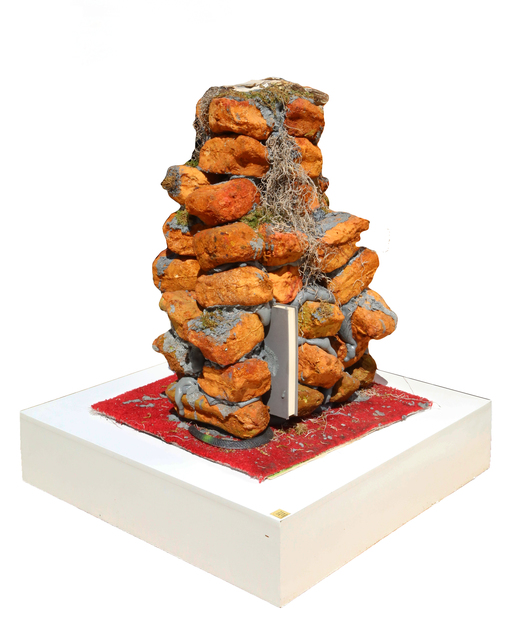 """Stephen G. Rhodes, 'Ruined Ruskin Lamp of Lump', 2010, Sculpture, Cast Eurythane Foam Bricks, John Ruskin's """"Seven Lamps of Architecture"""", Coors Can and Carpet, RoGallery"""