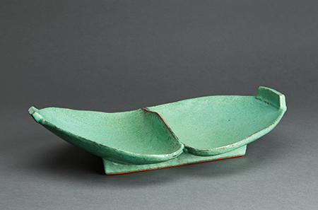 , 'Double spoon form dish, copper green glaze,' , Pucker Gallery