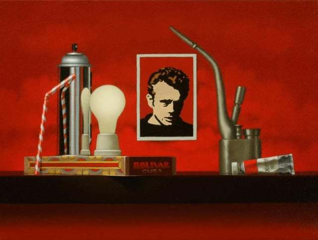 Mimi Jensen, 'Outlaws / oil on canvas, red still life, James Dean, cultural commentary', 2019, Andra Norris Gallery