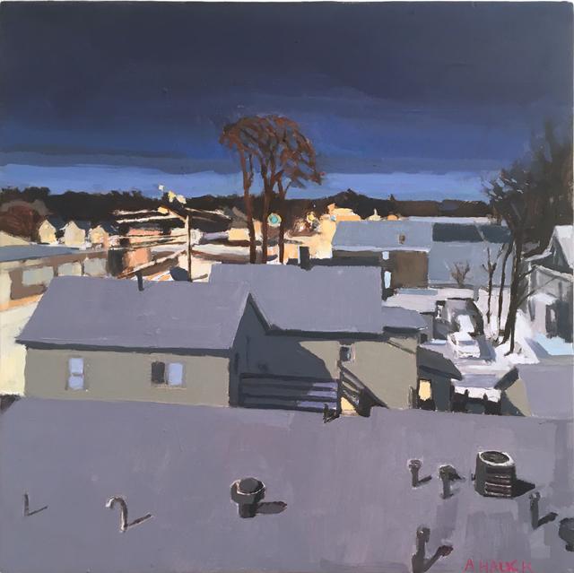 Aaron Hauck, 'Winter View Studio Window Night', 2019, Painting, Oil on panel, Deep Space Gallery