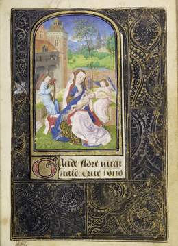 Lievan van Lathem, 'The Virgin and Child with Angels', 1469, Tempera colors, gold leaf, gold paint, silver paint, and ink on parchment, J. Paul Getty Museum
