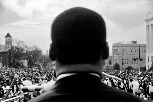 , 'Dr. Martin Luther King Jr. speaking to 25,000 civil rights marchers at end of Selma to Montgomery, Alabama march, March 25,' 1965, Fahey/Klein Gallery