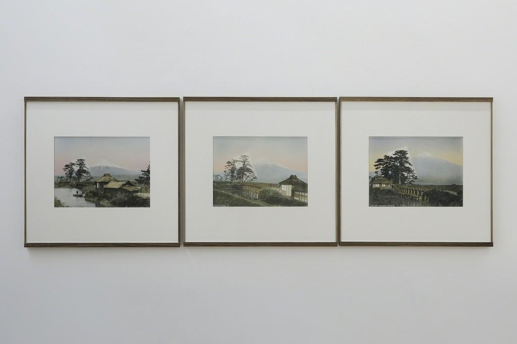 Linda Fregni Nagler, Fuji from Tokaido Bridge, 2018 3 hand colored gelatin silver prints, cm 42,7 x 44 each