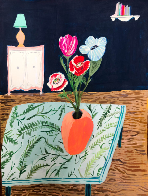 Polly Shindler, 'Flowers on the Table ', 2020, Painting, Acrylic on paper, Freight + Volume
