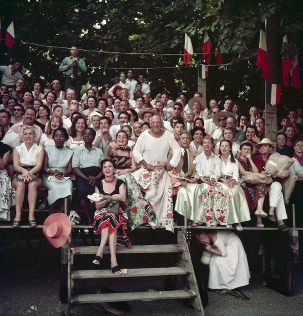 , 'Jacqueline Roque, Picasso, Jean Cocteau, Francine and Carole Weisweiller and Florette, at the Bullfight, Vallauris,' 1955, ElliottHalls