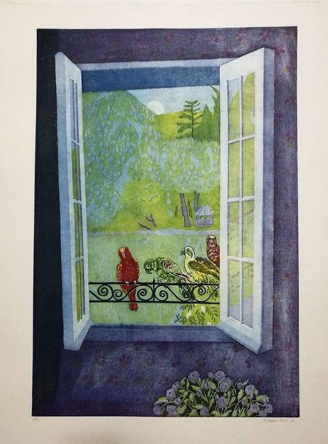 Ferdinand Oscar Finne, ' Parrots on the Window', 1986, Wallector