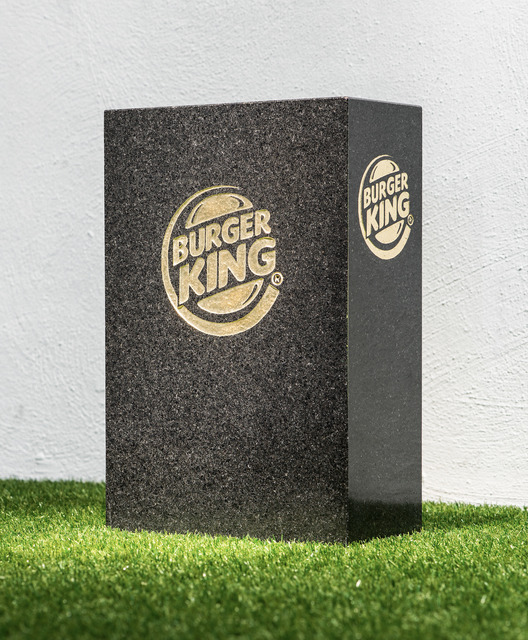 Jani Leinonen, 'Death of Burger King', 2013, Sculpture, Sand blowing, leaf gold on black granite, Zetterberg Gallery