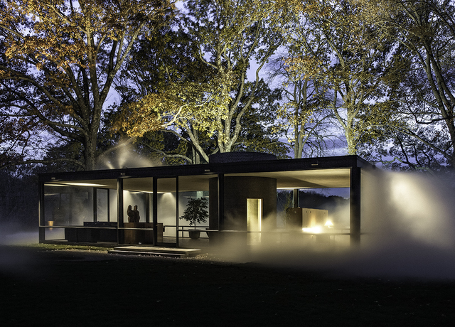 Richard Barnes, 'Angled View of Glass House at Night, Glass House', 2014, Photography, Archival inkjet print mounted to archival substrate, framed in black with UltraVue70, Bau-Xi Gallery