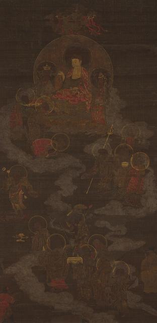 , 'Sakyamuni Triad and Sixteen Arhats,' Goryeo Dynasty-14th century, Leeum, Samsung Museum of Art