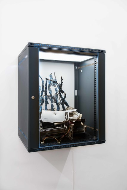 Joachim Coucke, 'An interface to immortality II', 2020, Sculpture, Server cabinet, led tile, plastic bin, conveyor belt parts, various computer components, cables, metal, gravel, plastic parts and hardware, Tatjana Pieters