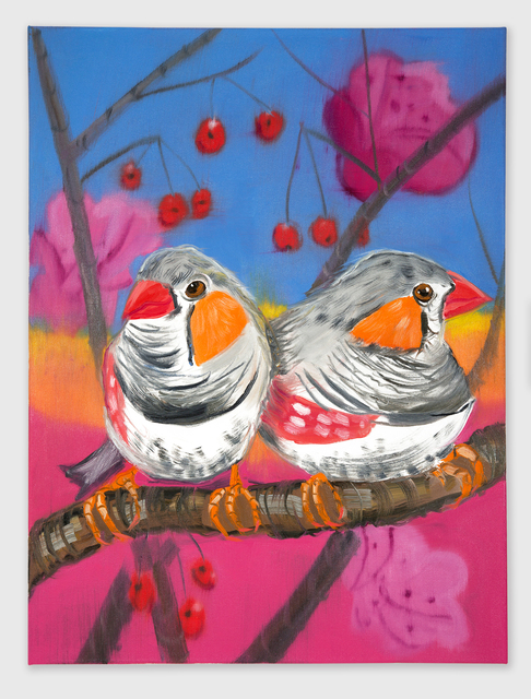 , 'Two Zebra Finches (Yellow Sunset with Cherries),' 2018, Shane Campbell Gallery