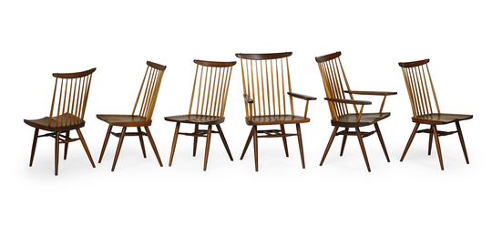 Set of six New chairs, two arm- and four side-