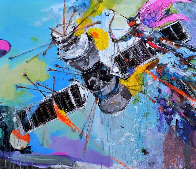 Frank David Valdés, ' The intruder', 2019, Painting, Mixed media on canvas, ArteMorfosis - Cuban Art Platform