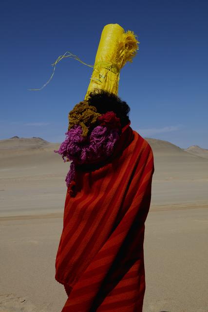 Lorenzo Vitturi, 'Manta, Cochinilla Dyed Yarn, Polypropylene Sack, Body in Paracas', 2019, Flowers