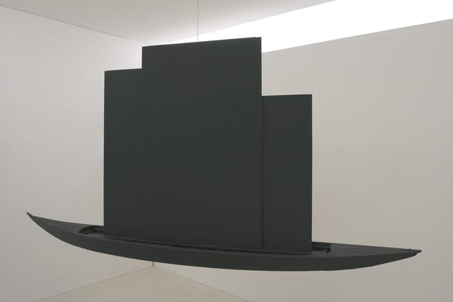 Claudio Parmiggiani, 'Caspar David Friedrich', 1989, Sculpture, Black monochrome canvasses, boat, Collezione Maramotti
