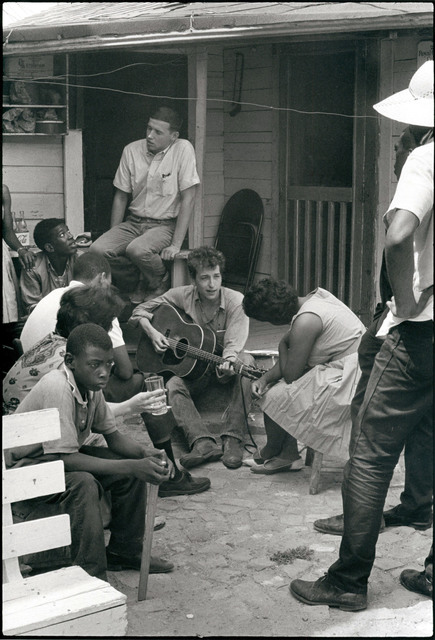 , 'Bob Dylan behind the SNCC office, Greenwood, Mississippi ,' 1963, Edwynn Houk Gallery