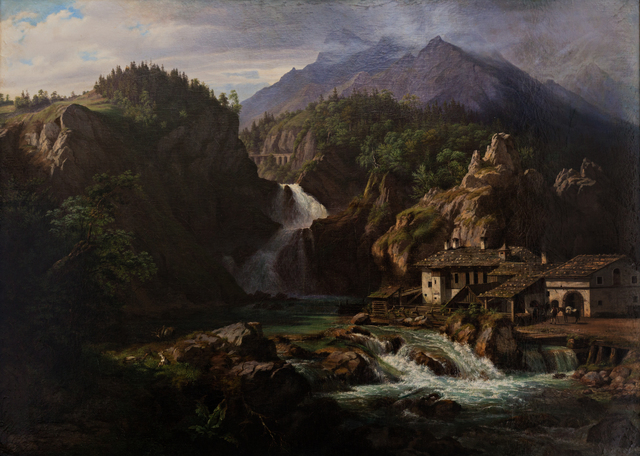 Eduard Agricola, 'Waterfall running through a mountainous landscape ', Early 19Th century, Queen Fine Arts