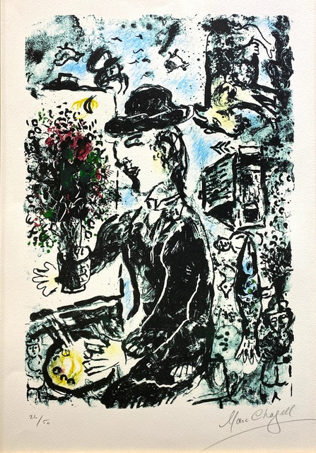 Marc Chagall, 'Le Peintre au Chapeau (M.1010)', 1983, Print, Lithograph in colors, Off The Wall Gallery