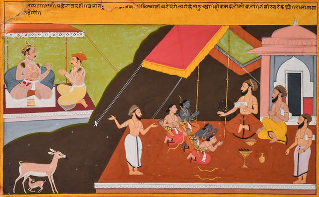 "India, Mewar, 'Illustration to Book Two (Balakanda) of the ""Tulsi"" Ramayana:  Rama and Lakshmana Studying at a Hermitage', ca. 1700-1710, Kapoor Galleries / Graham Shay 1857"