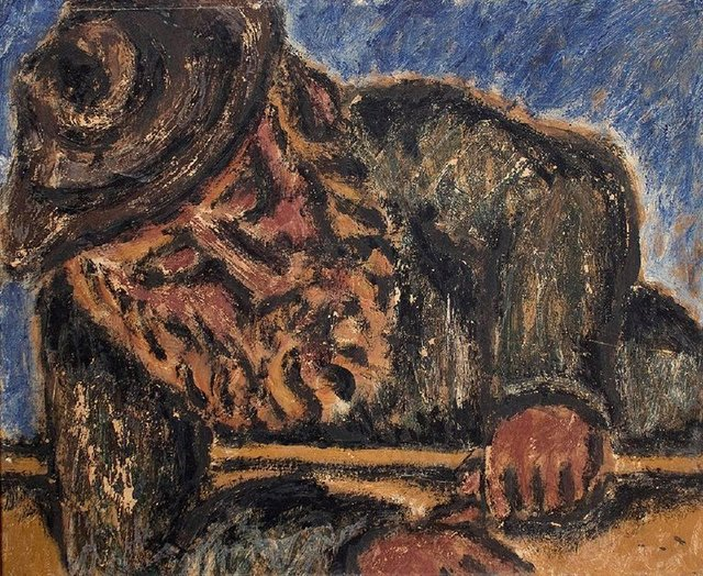 Ben-Zion, 'Modernist Rabbi at Study Judaica Oil Painting', Mid-20th Century, Lions Gallery