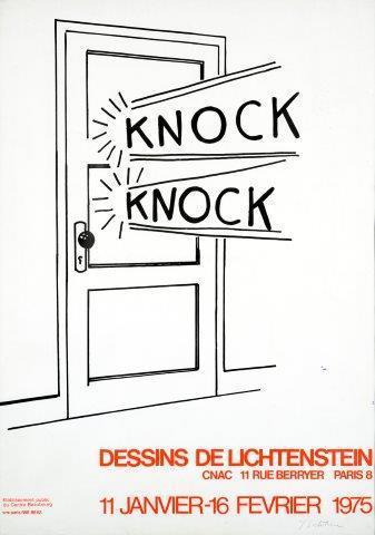 """Roy Lichtenstein, '""""Knock Knock"""" exhibition poster signed', 1975, Ground Effect Gallery"""