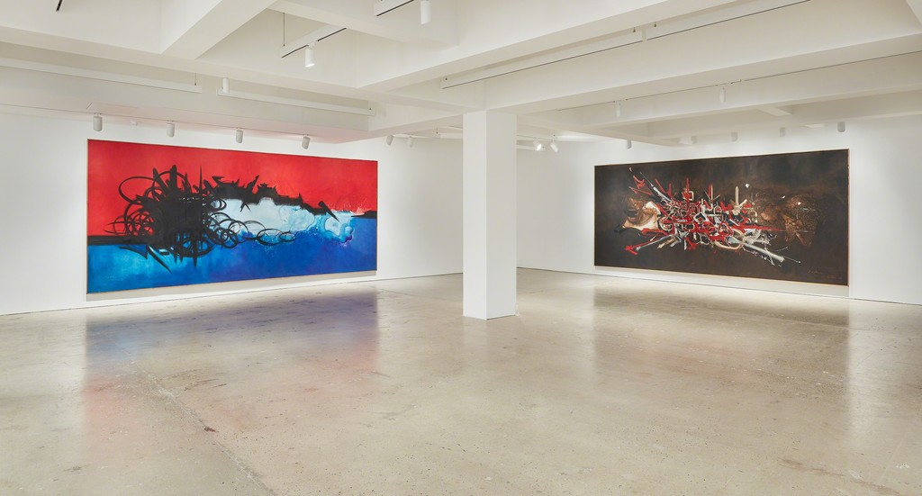 Georges Mathieu: Monumental Paintings at Nahmad Contemporary photo by Tom Powel Imaging © Comité Georges Mathieu - 2019 Artists Rights Society - ARS New York - ADAGP Paris