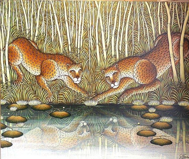 "Gustavo Novoa, '""Lotus Secret"" Leopards At River Edge In Jungle', 1990-1999, Lions Gallery"