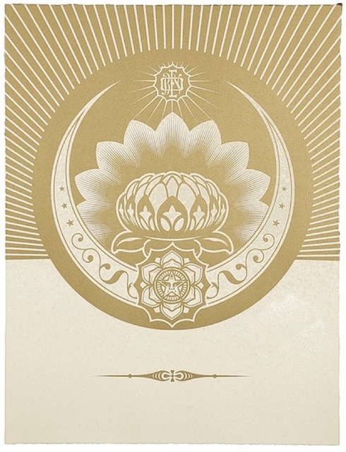 Shepard Fairey (OBEY), 'Obey Lotus Crescent (White / Gold)', 2013, Gregg Shienbaum Fine Art