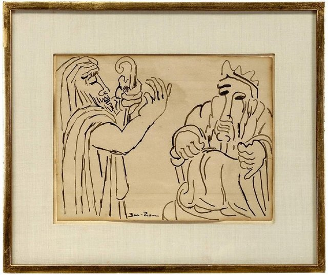 Ben-Zion Weinman, 'Biblical Scene, (2 Jewish Men) 1930s Modernist Ink Drawing', Early 20th Century, Lions Gallery