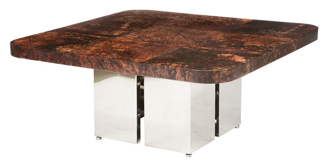 Ron Seff, 'Polished Stainless Steel and Lacquered Goatskin Batik Low Table', 1980s, Doyle