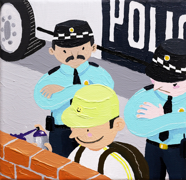 Imon Boy, 'POLICE STATION', 2019, Painting, Acrylic on canvas, KOLLY GALLERY