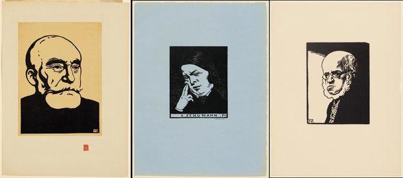 3 sheets: À Schumann, Adolf Menzel, Puvis de Chavannes