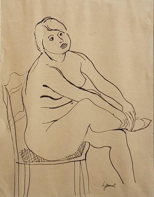 , 'Nu femme assise  [plume],' C.1940, Galerie Marie-Robin