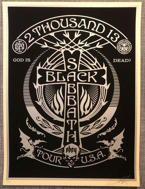 Shepard Fairey, 'Black Sabbath Cross Silver', 2013, AYNAC Gallery