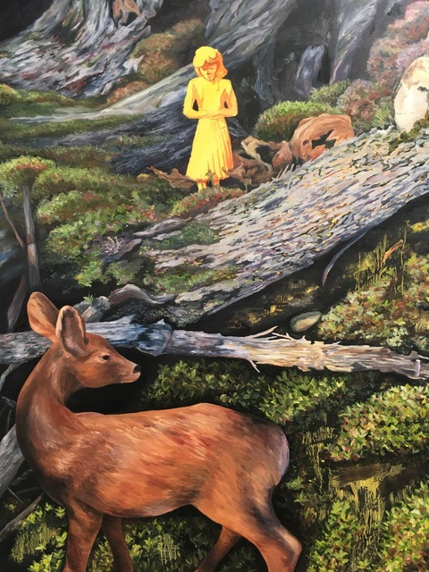 , 'Yellow woman in the woods with deer,' 2017, James May Gallery